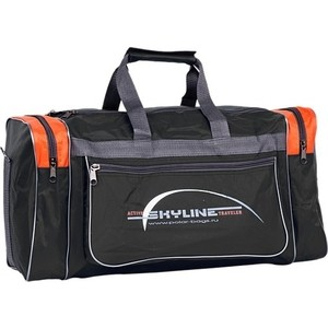 Сумка спортивная Polar 6007/6 черный/оранж (серая стропа) Нейлон сумка спортивная polar п9009 6 синий оранж серая стропа джонсон ткань пвх600 молния 10
