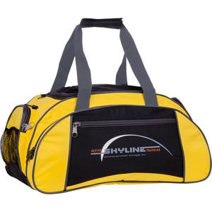 Сумка спортивная Polar 6063/6 черно/желтый (серая стропа) малая Скайлайн под обувь сумка спортивная polar п9009 6 синий оранж серая стропа джонсон ткань пвх600 молния 10