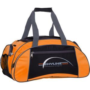 Сумка спортивная Polar 6063/6 черно/оранж (серая стропа) малая Скайлайн под обувь сумка спортивная polar п9009 6 синий оранж серая стропа джонсон ткань пвх600 молния 10