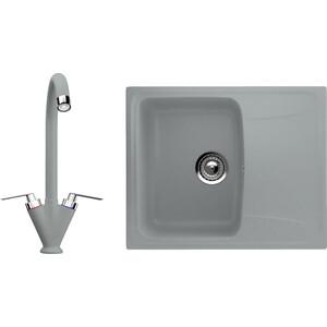 Кухонная мойка и смеситель Ulgran U-201 графитовый кухонная мойка и смеситель ulgran u 101 графитовый