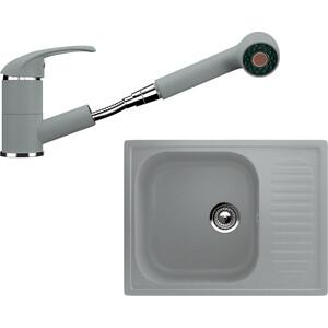 Кухонная мойка и смеситель Ulgran U-202 графитовый кухонная мойка и смеситель ulgran u 101 графитовый