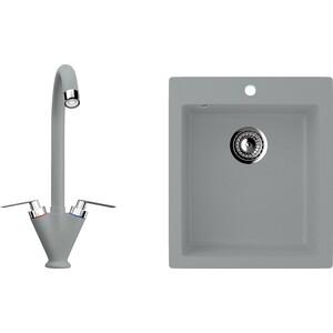 Кухонная мойка и смеситель Ulgran U-404 графитовый кухонная мойка и смеситель ulgran u 101 графитовый