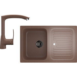 Кухонная мойка и смеситель Ulgran U-502 терракотовый