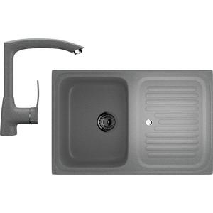 Кухонная мойка и смеситель Ulgran U-502 темно-серый