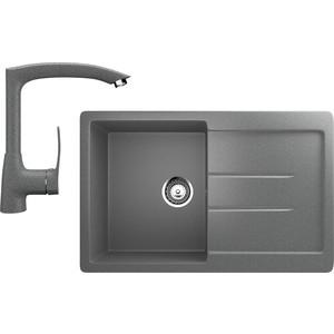 Кухонная мойка и смеситель Ulgran U-507 темно-серый