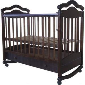 Кроватка Лаура 7 колесо-качалка.с ящиком шоколад