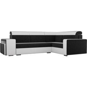 Угловой диван Лига Диванов Мустанг с двумя пуфами вельвет черный экокожа белый правый угол