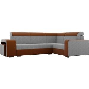 Угловой диван Лига Диванов Мустанг с двумя пуфами рогожка серый/коричневый правый угол