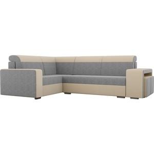 Угловой диван Лига Диванов Мустанг с двумя пуфами рогожка серый/бежевый левый угол фото