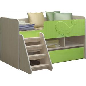 цена Детская кровать Регион 58 Юниор-3 МДФ салатовый 70x140 онлайн в 2017 году