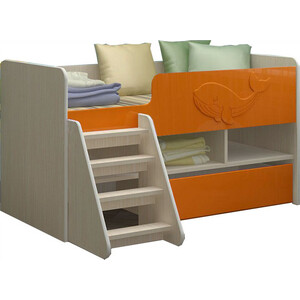 Детская кровать Регион 58 Юниор-3 МДФ оранжевый 70x140 на авто 202 регион