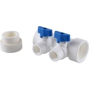 Коллектор Kalde с запорными кранами (цвет ручек синий) на 2 выхода для полипропиленовых труб под сварку (цвет белый) (3262-mnb-400220) цены онлайн