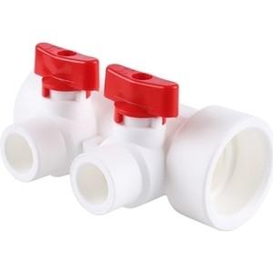 Коллектор Kalde с запорными кранами (цвет ручек красный) на 2 выхода для полипропиленовых труб под сварку белый) (3262-mnr-400220)