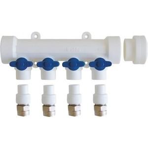 Коллектор Kalde с запорными кранами (цвет ручек синий) на 4 выхода для полипропиленовых труб под сварку (цвет белый) (3262-mnb-400420) цены онлайн
