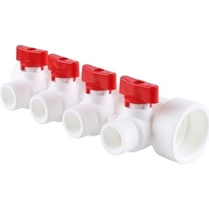Коллектор Kalde с запорными кранами (цвет ручек красный) на 4 выхода для полипропиленовых труб под сварку (цвет белый) (3262-mnr-400420) цены онлайн