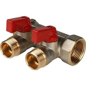 Коллектор STOUT с шаровыми кранами 3/4 на 2 выхода 1/2 (красные ручки) (SMB 6200 341202) stout дифференциальный клапан балансирования by pass g 3 4 4 соединение 0 2 2 5