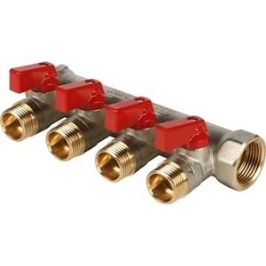 Коллектор STOUT с шаровыми кранами 3/4 на 4 выхода 1/2 (красные ручки) (SMB 6200 341204) stout дифференциальный клапан балансирования by pass g 3 4 4 соединение 0 2 2 5