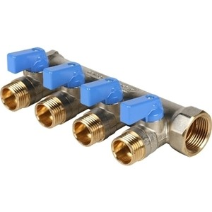 Коллектор STOUT с шаровыми кранами 3/4 на 4 выхода 1/2 (синие ручки) (SMB 6201 341204) stout дифференциальный клапан балансирования by pass g 3 4 4 соединение 0 2 2 5