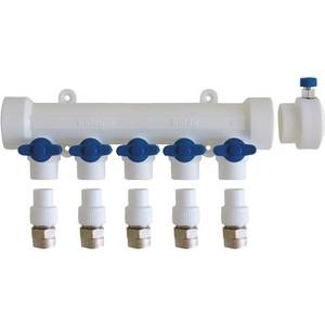 Коллектор Kalde с воздухоотводчиком и запорными кранами (синие ручки) на 5 выходов для полипропиленовых труб под сварку (3272-mnb-400520) цены онлайн