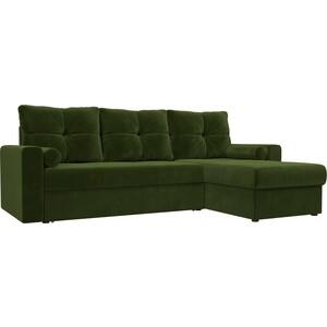 Угловой диван АртМебель Верона микровельвет зеленый правый угол фото