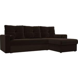 Угловой диван АртМебель Верона микровельвет коричневый правый угол