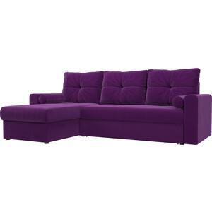 Угловой диван АртМебель Верона микровельвет фиолетовый левый угол
