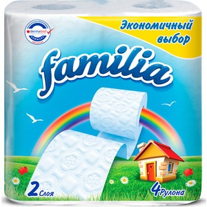 Туалетная бумага FAMILIA Радуга белая 2 слоя 4 рулона