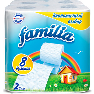Туалетная бумага FAMILIA Радуга белая 2 слоя 8 рулонов
