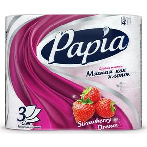 Туалетная бумага PAPIA Клубничная мечта 3 слоя 4 рулона