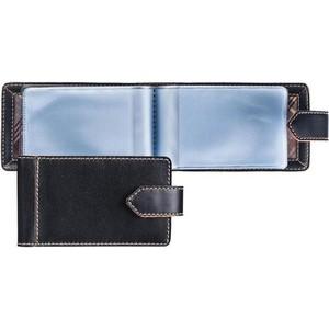 Визитница FABULA карманная 40 визиток ASKENT V22TX Техас натуральная кожа черная