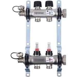 Коллекторная группа UPONOR SMART S с расходомерами стальной 1х3/4 евроконус на 2 выхода (1086538)