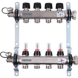 Коллекторная группа UPONOR SMART S с расходомерами стальной 1х3/4 евроконус на 4 выхода (1086540)