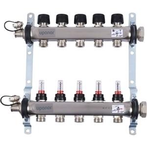 Коллекторная группа UPONOR SMART S с расходомерами стальной 1х3/4 евроконус на 5 выходов (1086541)