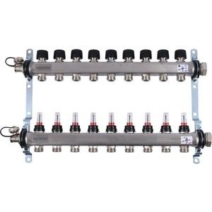 Коллекторная группа UPONOR SMART S с расходомерами стальной 1х3/4 евроконус на 9 выходов (1086545)