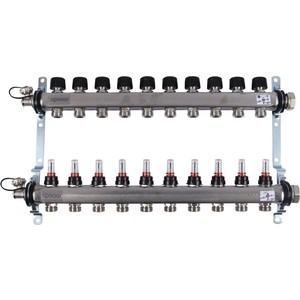 Коллекторная группа UPONOR SMART S с расходомерами стальной 1х3/4 евроконус на 10 выходов (1086546) коллекторная группа royal thermo в сборе с расходомерами 1 вр 3 4 нр 9 выходов нержавеющая сталь rte 52 109