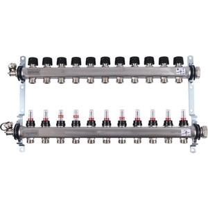 Коллекторная группа UPONOR SMART S с расходомерами стальной 1х3/4 евроконус на 11 выходов (1086547)