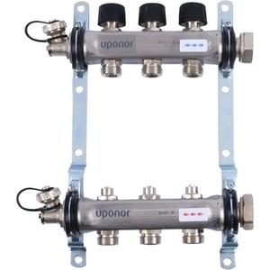 цена на Коллекторная группа UPONOR SMART S с клапанами стальной 1х3/4 евроконус на 3 выхода (1088046)
