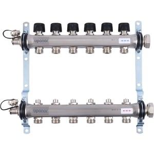 Коллекторная группа UPONOR SMART S с клапанами стальной 1х3/4 евроконус на 6 выходов (1088049)