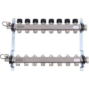 Коллекторная группа UPONOR SMART S с клапанами стальной 1х3/4 евроконус на 8 выходов (1088051)