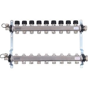 Коллекторная группа UPONOR SMART S с клапанами стальной 1х3/4 евроконус на 9 выходов (1088052)