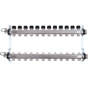 Коллекторная группа UPONOR SMART S с клапанами стальной 1х3/4 евроконус на 12 выходов (1088055)
