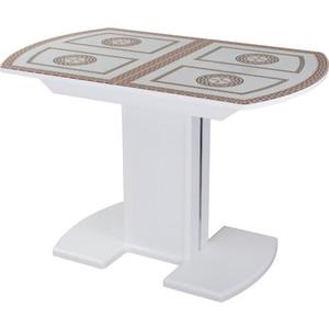 Стол со стеклом Домотека Танго ПО-1 БЛ ст-71 05-1 БЛ/БЛ