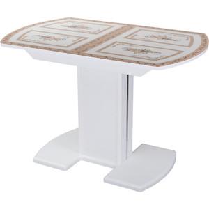 Стол с камнем Домотека Танго ПО-1 БЛ ст-72 05-1 БЛ/БЛ