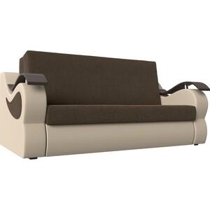 Прямой диван АртМебель Меркурий рогожка коричневый экокожа бежевый (140)