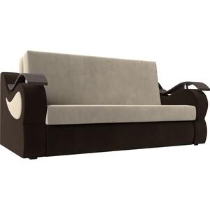 Прямой диван АртМебель Меркурий вельвет бежевый/коричневый (160)