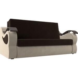 Прямой диван АртМебель Меркурий вельвет коричневый/бежевый (160)