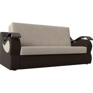 Прямой диван АртМебель Меркурий рогожка бежевый экокожа коричневый (120)
