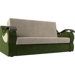 Прямой диван АртМебель Меркурий вельвет бежевый/зеленый (100)