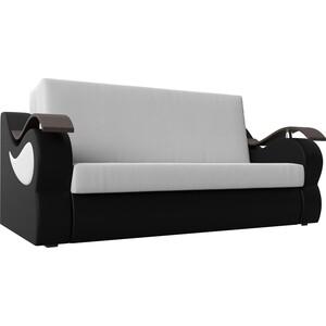 Прямой диван АртМебель Меркурий экокожа белый/черный (100)