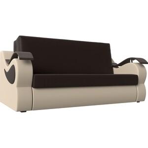 Прямой диван АртМебель Меркурий экокожа коричневый/бежевый (100)